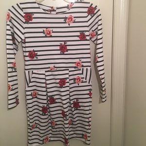 H&M 8-10y girl flower black white stripe dress